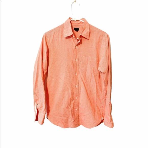 J.Crew orange/white gingham button down shirt XS